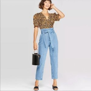 Who What Wear V-Neck Leopard Print Wrap Top